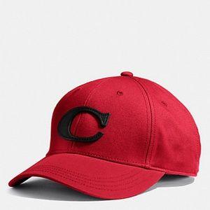 COACH Red Black Varsity C Hat NEW